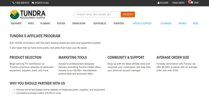 screenshot of the affiliate sign up page for Tundra Restaurant Supply