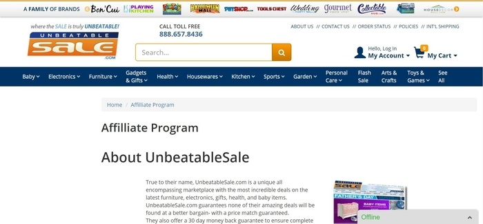 screenshot of the affiliate sign up page for UnbeatableSale