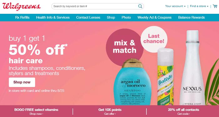 Walgreens website home page screenshot