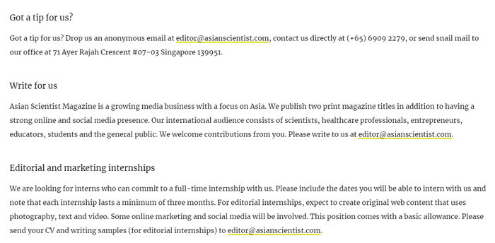 Write For Asian Scientist