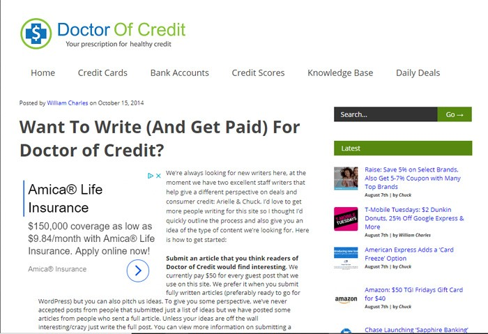 Write For Doctor Of Credit