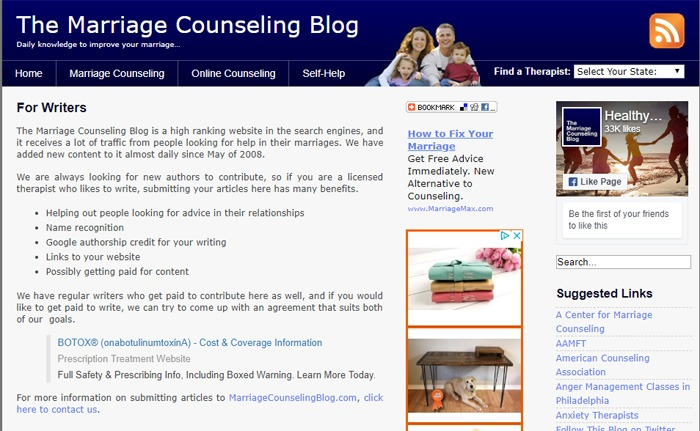 Writing For The Marriage Counseling Blog