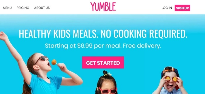screenshot of the affiliate sign up page for Yumble