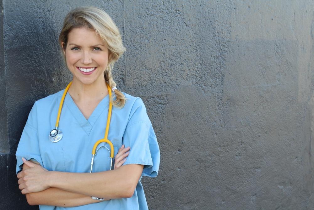 blonde nurse with scrubs representing medical affiliate programs