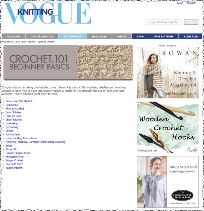 screenshot of crochet niche website