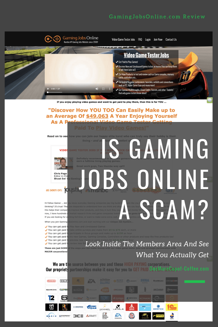 """screenshot of gaming jobs online with the text """"is gaming jobs online a scam?"""""""