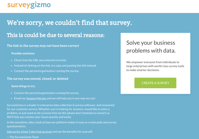 picture of dead survey link from onlinegamingjobs.com