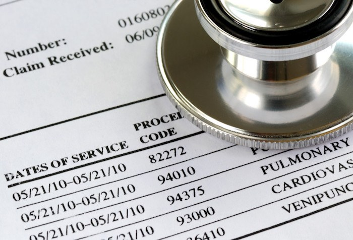 picture of medical bill with procedures and prices listed