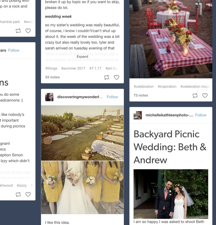 two examples of cute wedding pictures that are done at a picnic