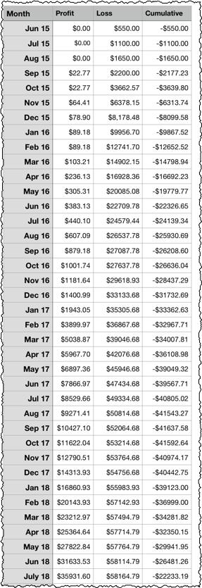 profit loss niche website spreadsheet