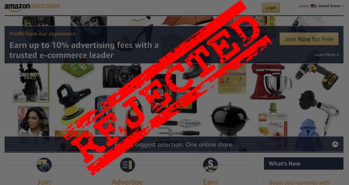 rejected amazon affiliate program