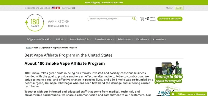 screenshot of the affiliate sign up page for 180 Smoke Vape Store