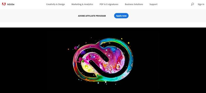 screenshot of the affiliate sign up page for Adobe