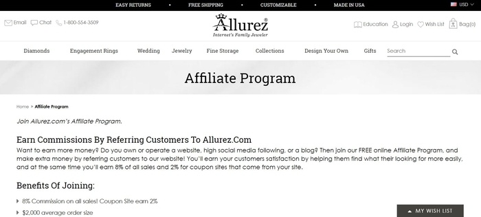 screenshot of the affiliate sign up page for Allurez