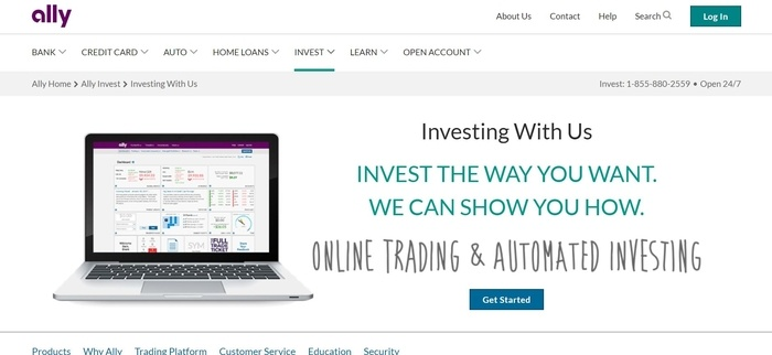 screenshot of the affiliate sign up page for Ally Invest