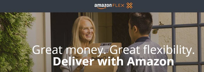 Amazon Flex website screenshot showing an Asian man delivering a package to a blonde woman.