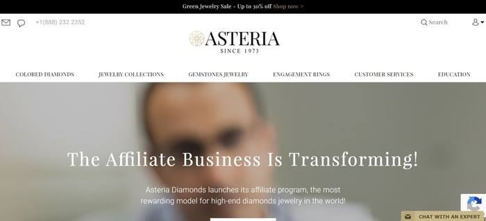 screenshot of the affiliate sign up page for Asteria Diamonds