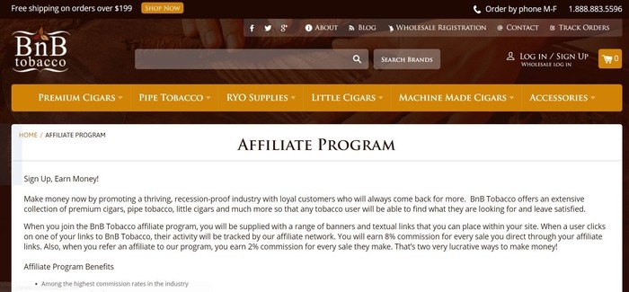 screenshot of the affiliate sign up page for BNB Tobacco