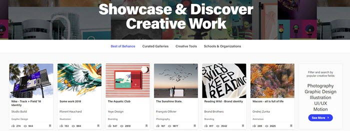 Behance website screenshot showing various designs from creators with information about likes and views.