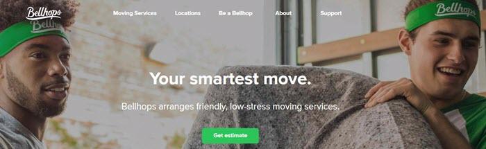 Bellhops website screenshot showing two men helping to move a sofa, while wearing green Bellhops headwear.