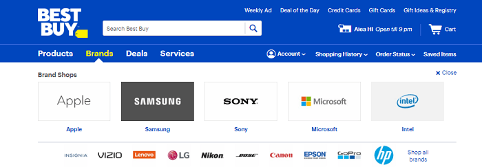 Screenshot of the Best Buy Home Page