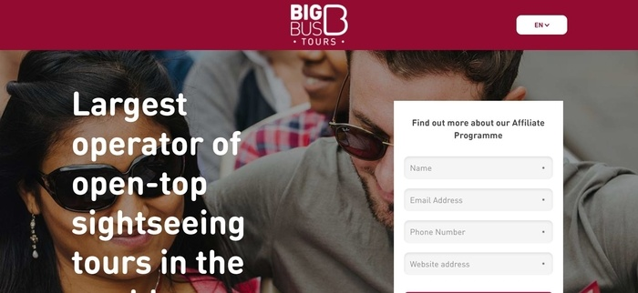 screenshot of the affiliate sign up page for Big Bus Tours