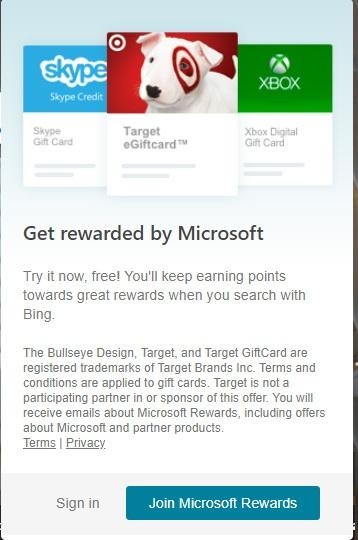 Bing Rewards Popup