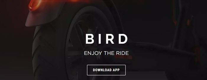 Bird website screenshot showing a closeup image of one of the Bird scooters against a black background.