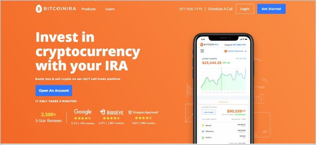 screenshot of Bitcoin IRA home page