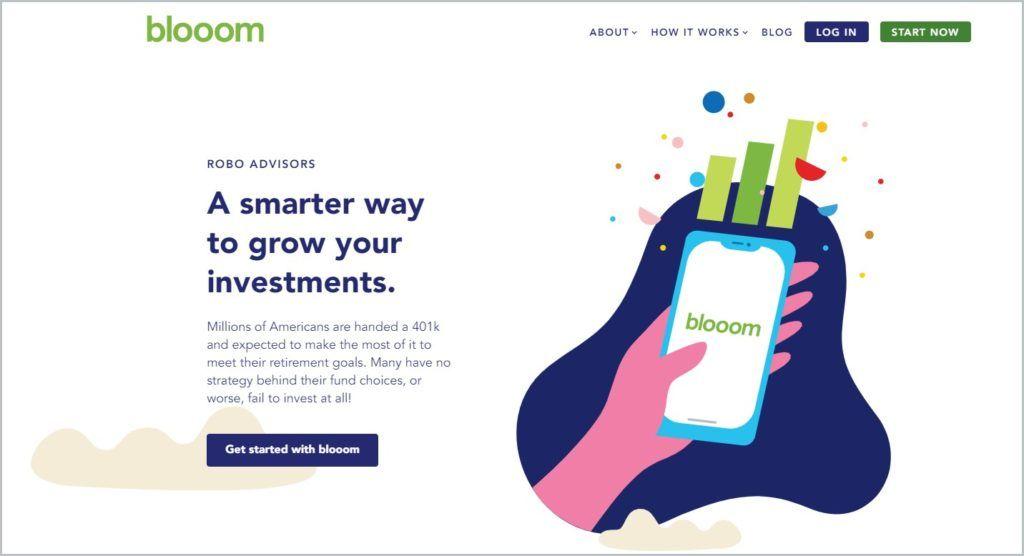 screenshot of Blooom home page