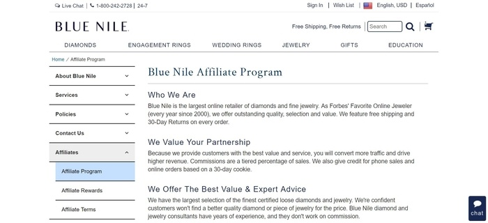 screenshot of the affiliate sign up page for Blue Nile