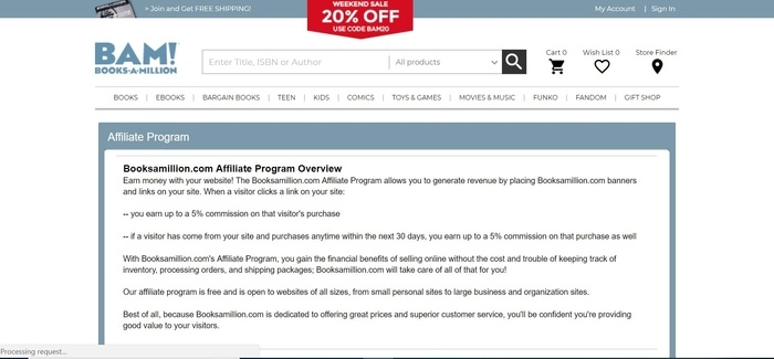 screenshot of the affiliate sign up page for Booksamillion.com