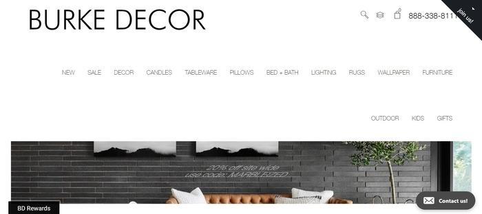 screenshot of the affiliate sign up page for Burke Decor