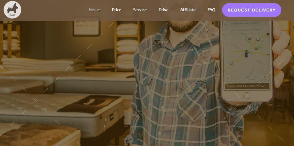Burro Website Screenshot showing a young man holding a phone in a mattress store