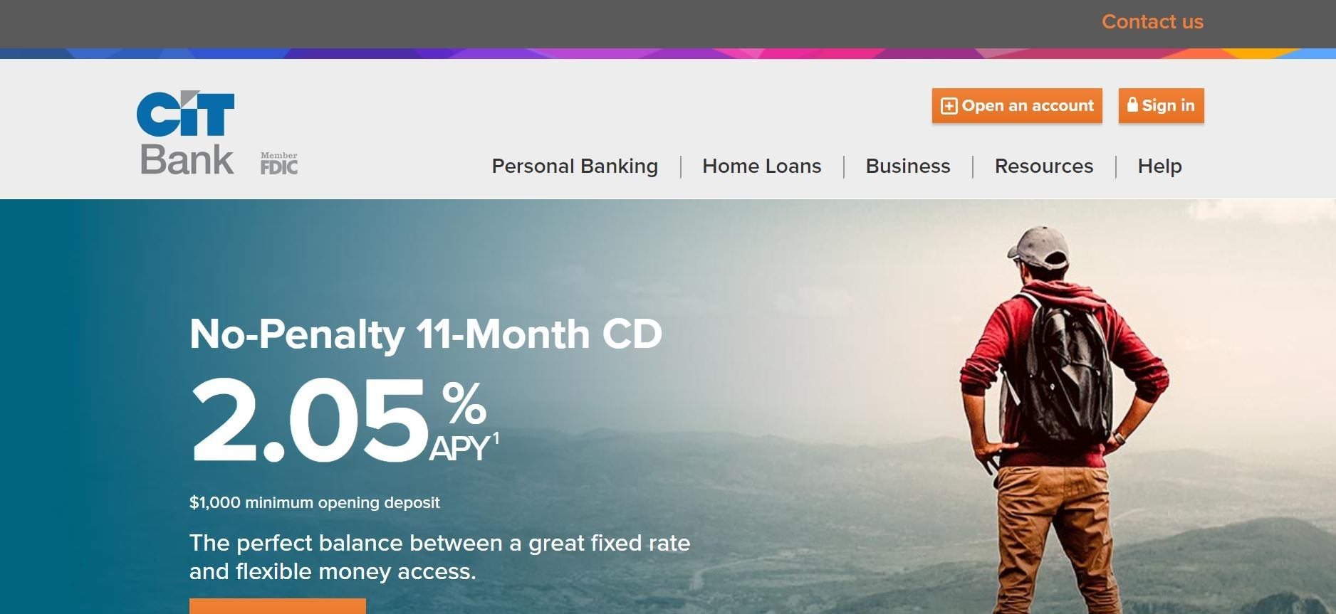 screenshot of the affiliate sign up page for CIT Bank