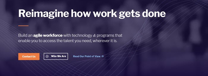 Catalant website screenshot showing a purple stylized background mage, with text that talks about having an agile workforce and reimagining how work is done.