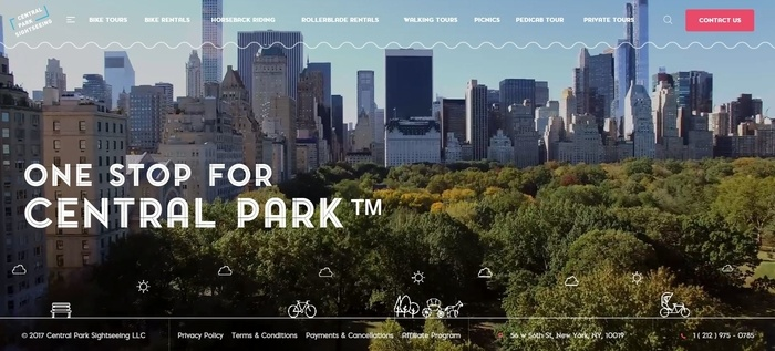 screenshot of the affiliate sign up page for Central Park Sightseeing