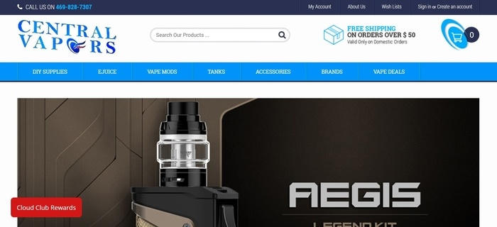 screenshot of the affiliate sign up page for Central Vapors