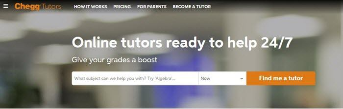 Chegg website screenshot showing a blurred out background image, with text that talks about online tutors.