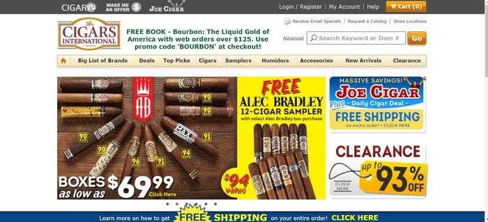 screenshot of the affiliate sign up page for Cigars International