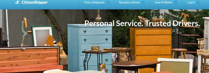 CitizenShipper Website Screenshot showing a selection of furniture outside