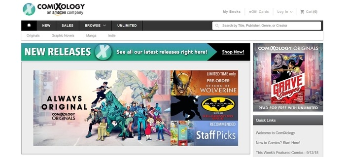 screenshot of the affiliate sign up page for Comixology