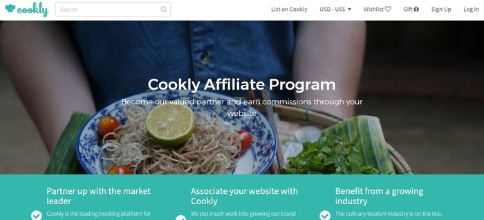 screenshot of the affiliate sign up page for Cookly