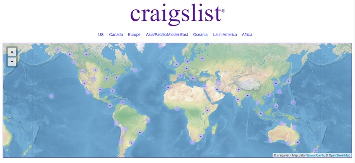 Screenshot from Craigslist showing a map of the world