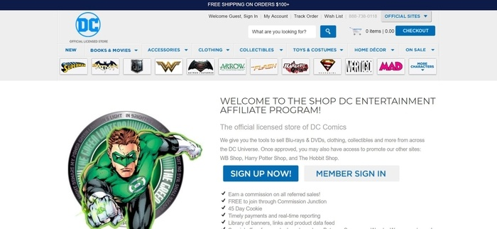 screenshot of the affiliate sign up page for DC Entertainment