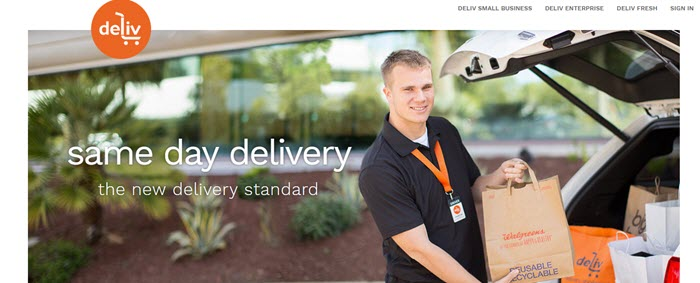 Deliv Website Screenshot showing a young man loading Walgreens groceries into a car
