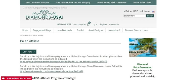 screenshot of the affiliate sign up page for Diamond-USA