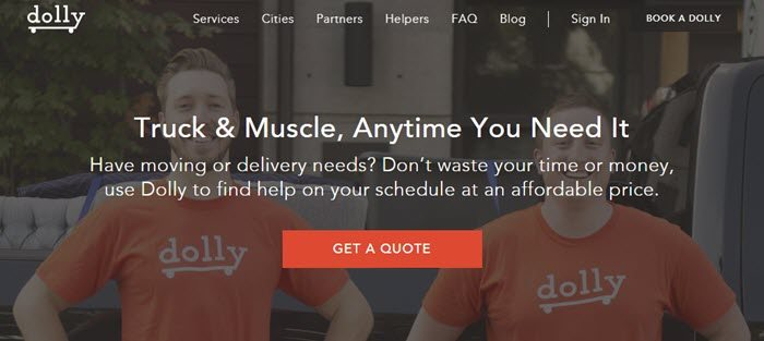 Dolly website screenshot showing an image of two young men in orange Dolly shirts facing the camera and smiling.