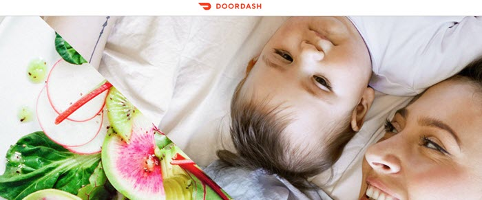 DoorDash website screenshot showing a woman and a baby on a white sheet, with an image of a fresh salad.