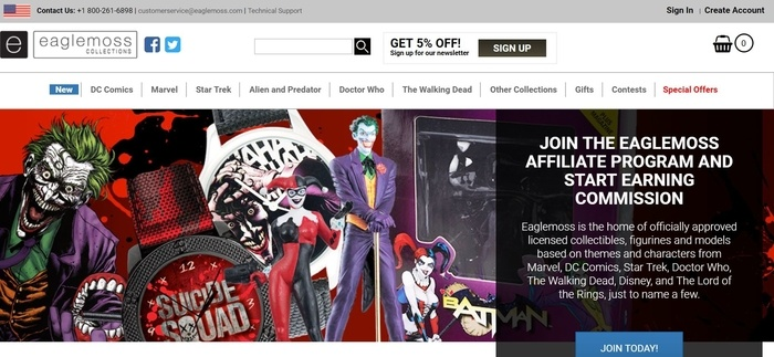 screenshot of the affiliate sign up page for Eaglemoss